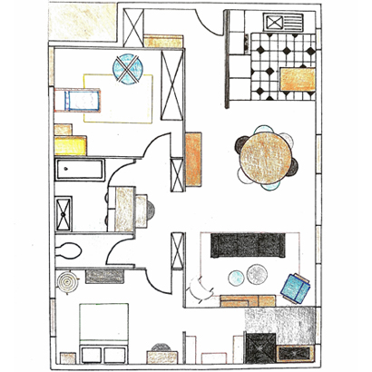 plan, palette d'inspirations, home staging